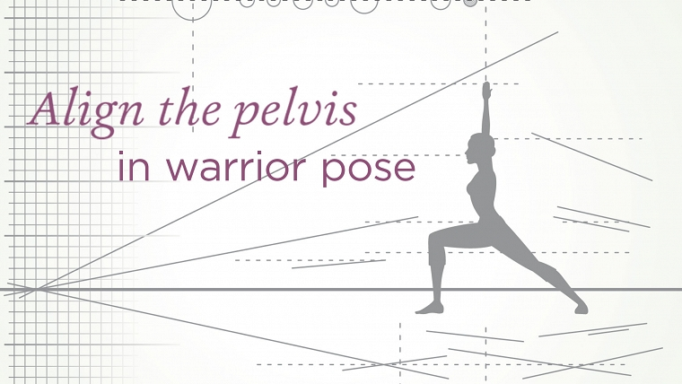 align the pelvis in warrior pose